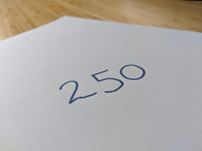 Number 250 to represent FTSE 250