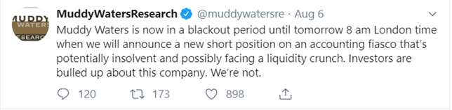 Muddy Waters Tweet announcing new short selling position 6 August 2019